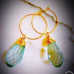Clear mint gold drop earrings